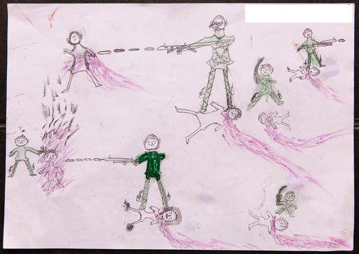 A drawing by a Rohingya boy illustrates the horrific experiences he endured while fleeing from Myanmar to Bangladesh.