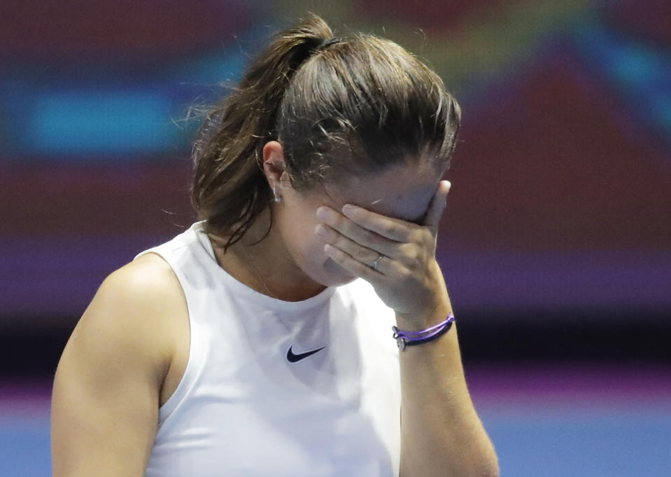 Daria Kasatkina of Russia celebrates her victory in the St. Petersburg Ladies Trophy 2021 tennis tournament after Margarita Gasparyan of Russia withdrew from play during the final match, in St.Petersburg, Russia, Sunday, March 21, 2021. (AP Photo/Dmitri Lovetsky)