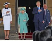 Queen Elizabeth II, the Prince of Wales, President Trump and First Lady Melania enjoy the ceremony of the President's state visit on Monday. (PA)