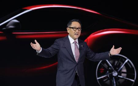 FILE PHOTO: President of Toyota Motor Corporation Akio Toyoda speaks during the unveiling of the 2020 Toyota Supra during the North American International Auto Show in Detroit, Michigan, U.S., January 14, 2019. REUTERS/Brendan Mcdermid/File Photo