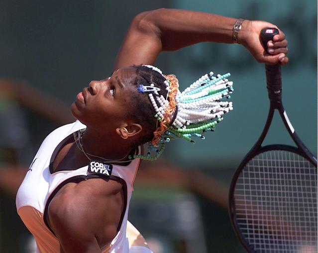 Serena Willams, of the USA, prepares to serve to Dominique van Roost of Belgium in the third round of the French Tennis Open tournament at Roland Garros stadium in Paris Saturday May 30, 1998. Williams won 6-1, 6-1. (AP Photo/Lionel Cironneau)