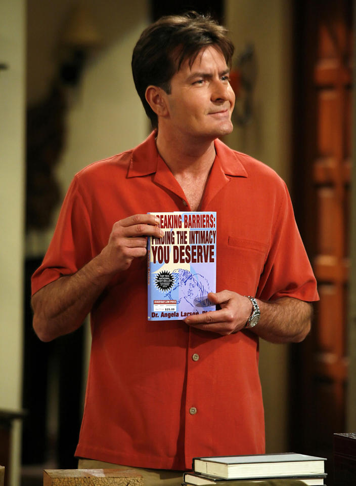 """<b>Charlie Sheen</b> as Charlie Harper, """"Two and a Half Men"""" (2003-present)<br><br>Outstanding Lead Actor in a Comedy Series<br><br>0 wins, 4 consecutive nominations (2005-2009)"""