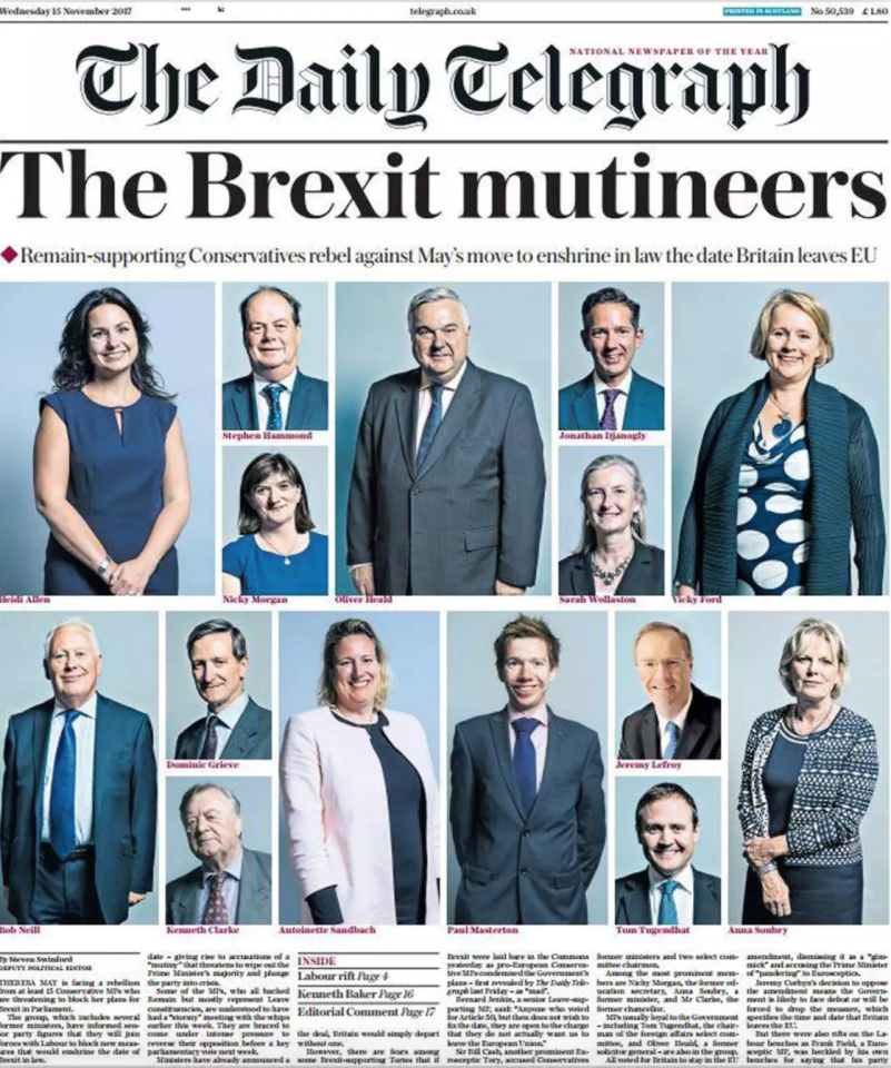 "<p>This Daily Telegraph front page from November was widely criticised for demonising Conservative MPs who opposed Theresa May's plans to set a final date for Brexit.<br />Some compared it to the ""enemies of the people"" front page run by the Daily Mail in November 2016, and felt it set a dangerous precedent.<br />However, others made fun of the page's arrangement, comparing it to an old-style introduction for a family sitcom. </p>"