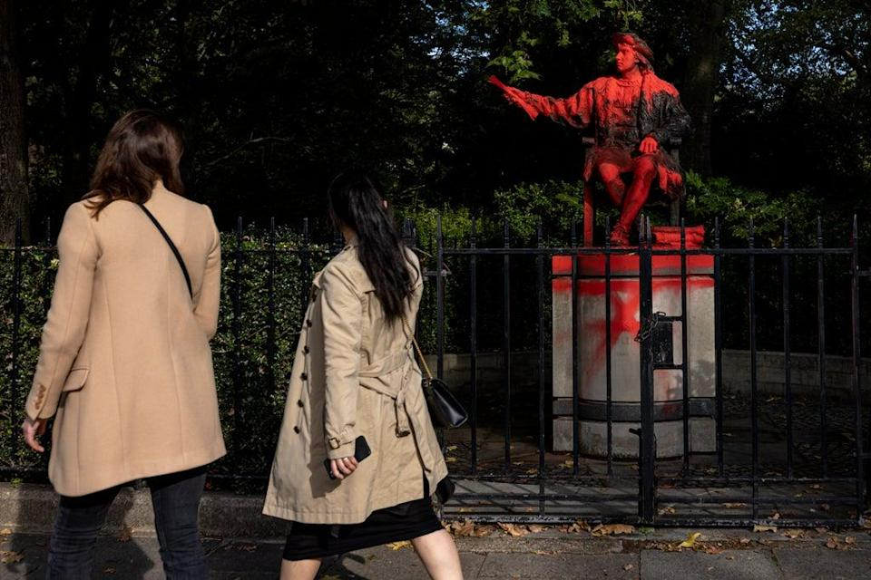 Christopher Columbus Statue Vandalised In London (Getty Images)