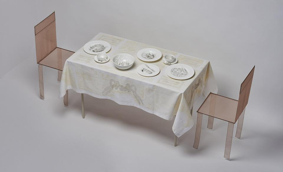 """""""Dinner for Two in One Month of Smog,"""" with designs on porcelain and linen, 2011."""