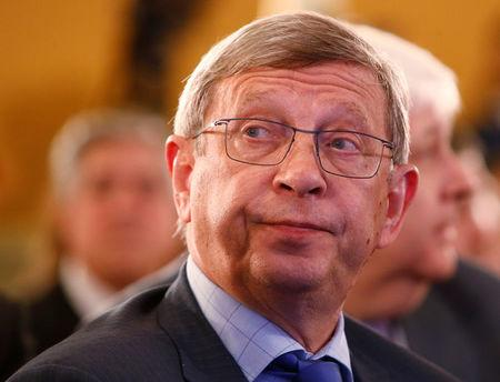 FILE PHOTO: Chairman of Russian oil-to-telecomms conglomerate Sistema Vladimir Yevtushenkov attends a session during the Week of Russian Business, organized by the Russian Union of Industrialists and Entrepreneurs (RSPP), in Moscow, Russia March 16, 2017. REUTERS/Sergei Karpukhin/File Photo
