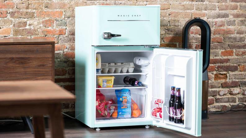 Investing in a mini fridge will let you have access to perishable items like yogurt, fruits and vegetables, and those leftovers you take home when your parents visit and take you out to dinner.
