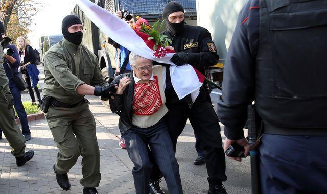Belarus protests: Great-grandmother forcibly arrested as women take to streets to demand Lukashenko's removal