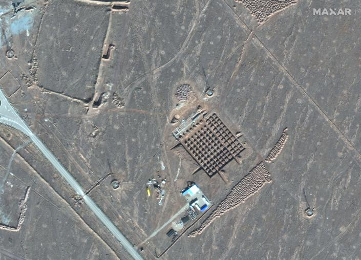 This Dec. 11, 2020, satellite photo by Maxar Technologies shows construction at Iran's Fordo nuclear facility. Iran has begun construction on a site at its underground nuclear facility at Fordo amid tensions with the U.S. over its atomic program, satellite photos obtained Friday, Dec. 18, 2020, by The Associated Press show. (Maxar Technologies via AP)