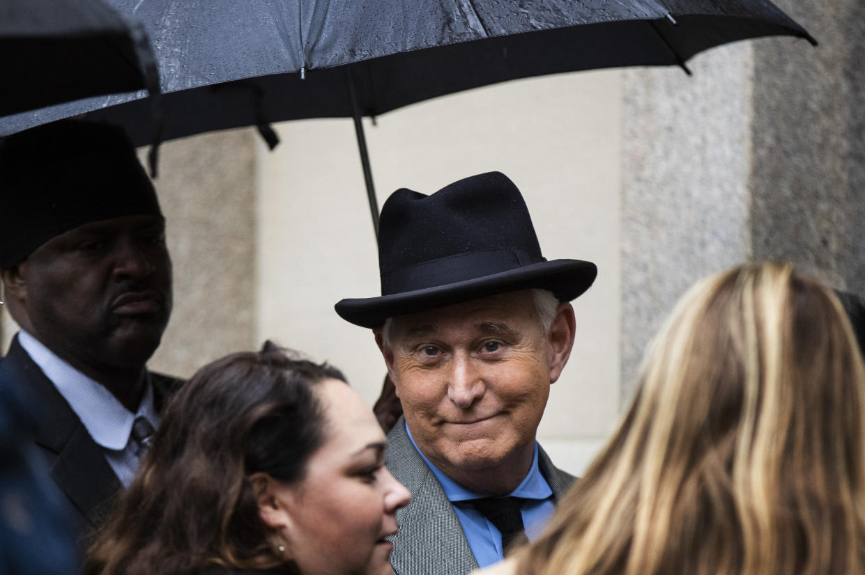 Roger Stone, a former confidant of President Donald Trump, waits in line at the federal court in Washington, Tuesday, Nov. 12, 2019.  (AP Photo/Manuel Balce Ceneta)