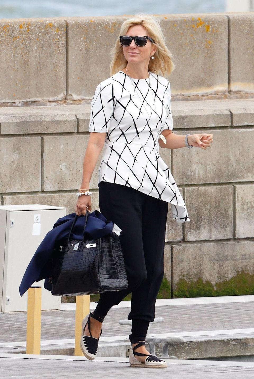 <p>Marie-Chantal looks just as elegant in a casual look like this one. The seemingly ageless princess is a mother to five children, the eldest of which, Maria-Olympia, is coming into her own as a style star. </p>