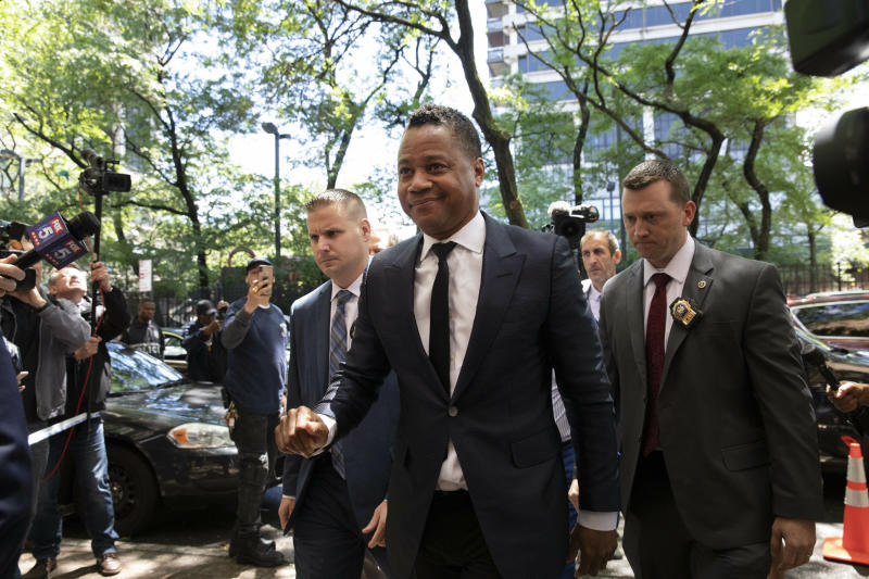 Actor Cuba Gooding Jr. arrives at the New York Police Department's Special Victim's Unit, Thursday, June 13, 2019 to face allegations he groped a woman at a city night spot. A 29-year-old woman told police the 51-year-old Gooding grabbed her breast while he was intoxicated around 11:15 p.m. Sunday. Gooding denies the allegations. (AP Photo/Mark Lennihan)