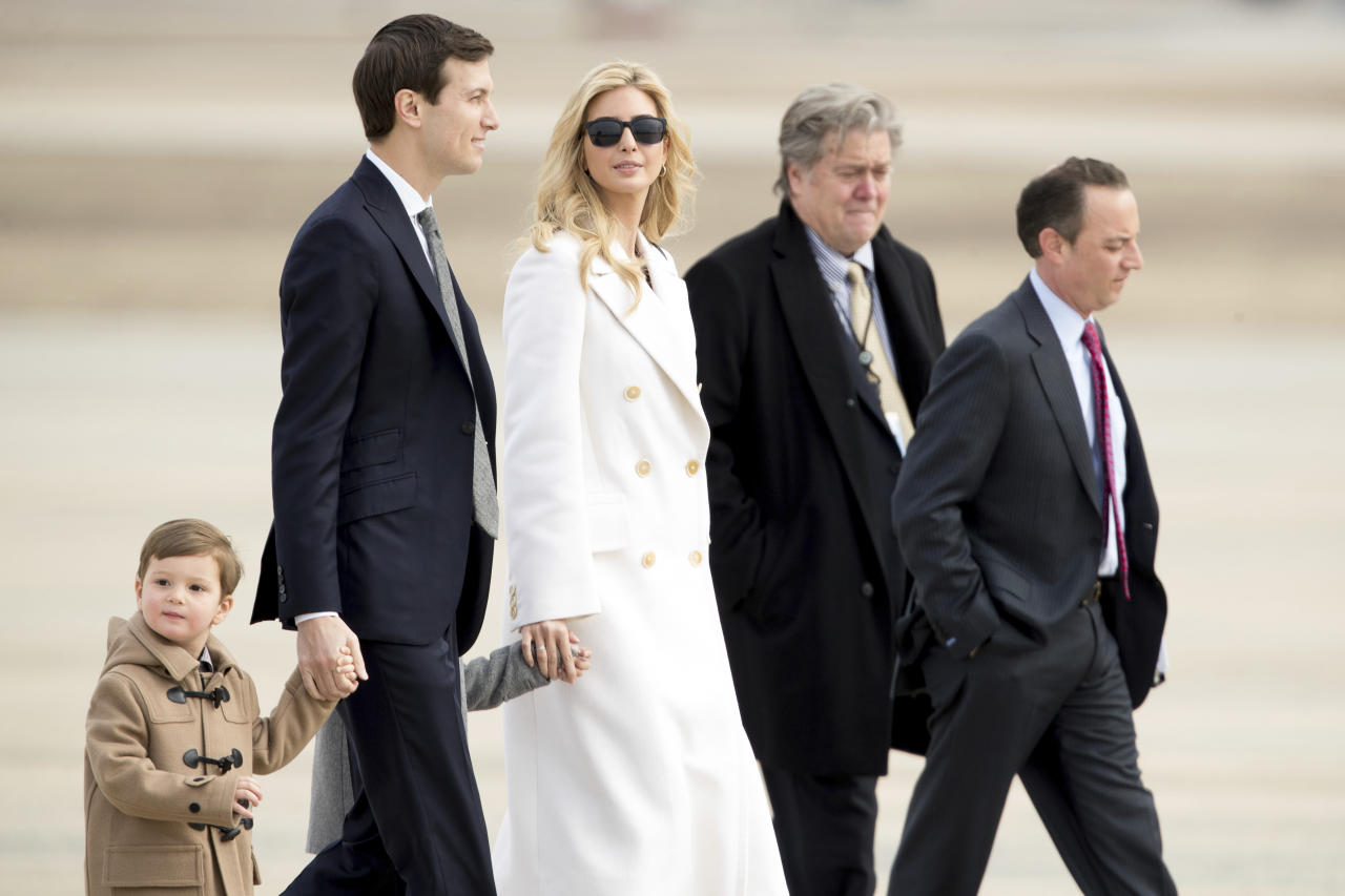 <p> Ivanka Trump, daughter of President Donald Trump, her husband, senior adviser Jared Kushner, their two children Arabella Kushner and Joseph Kushner, Chief White House Strategist Steve Bannon, second from right, and Chief of Staff Reince Priebus, right, walk to Air Force One at Andrews Air Force Base in Md., Friday, Feb. 17, 2017. Trump is visiting Boeing South Carolina to see the Boeing 787 Dreamliner before heading to his estate Mar-a-Lago in Palm Beach, Fla., for the weekend. (AP Photo/Andrew Harnik) </p>