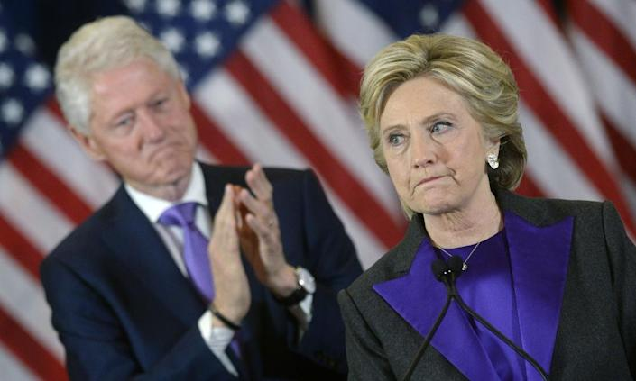 "<span class=""element-image__caption"">Hillary Clinton delivers her concession speech, in the New Yorker hotel.</span> <span class=""element-image__credit"">Photograph: Rex/Shutterstock</span>"