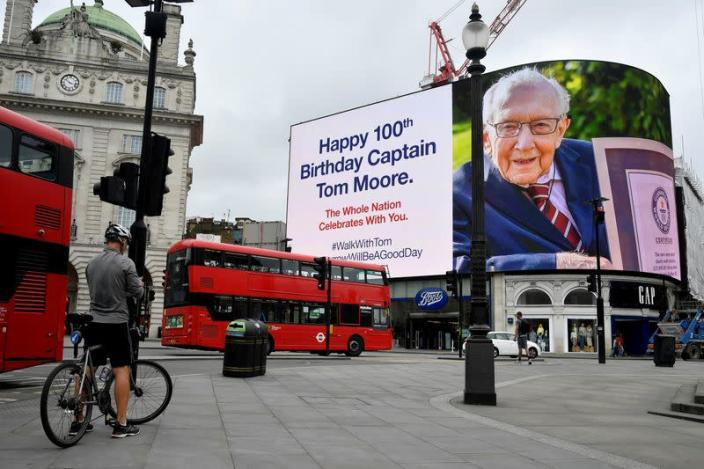 FILE PHOTO: 100th birthday of army veteran Captain Tom Moore, in London