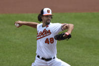 Baltimore Orioles pitcher Jorge Lopez delivers against the Minnesota Twins in the first inning of a baseball game Monday, May 31, 2021, in Baltimore.(AP Photo/Gail Burton)