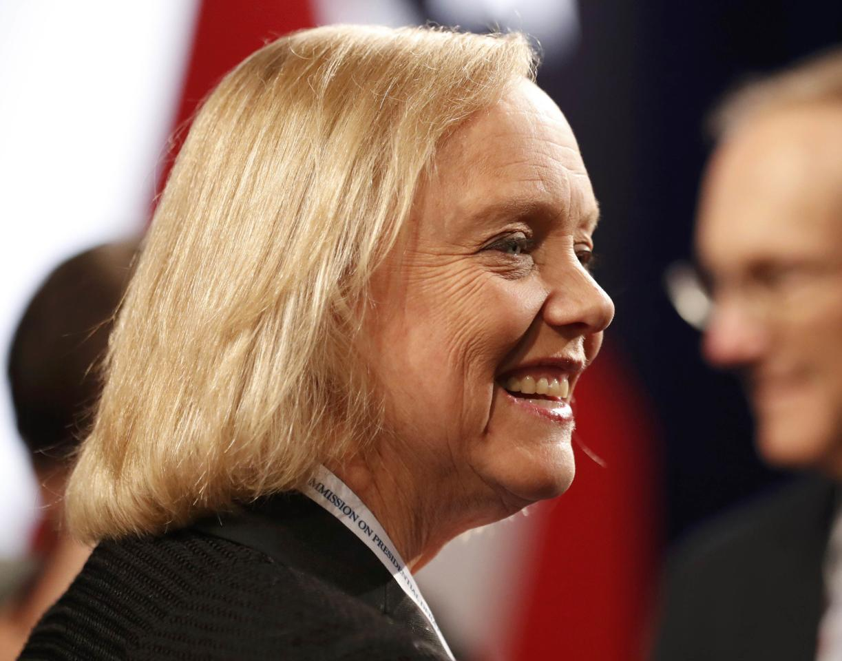 Hewlett Packard chair and CEO Meg Whitman arrives to attend the third and final 2016 presidential campaign debate between Republican U.S. presidential nominee Donald Trump and Democratic nominee Hillary Clinton at UNLV in Las Vegas, Nevada, U.S., October 19, 2016. REUTERS/Mike Blake