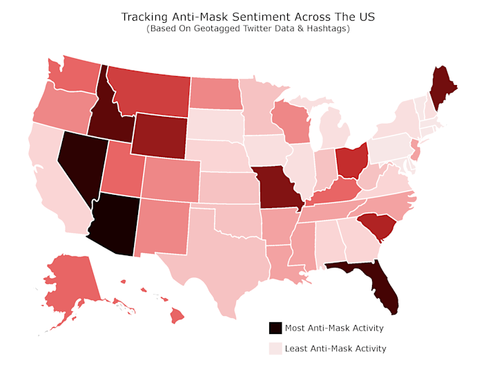 Using geotagged Twitter data, this map shows anti-mask sentiment on the social media platform by state.