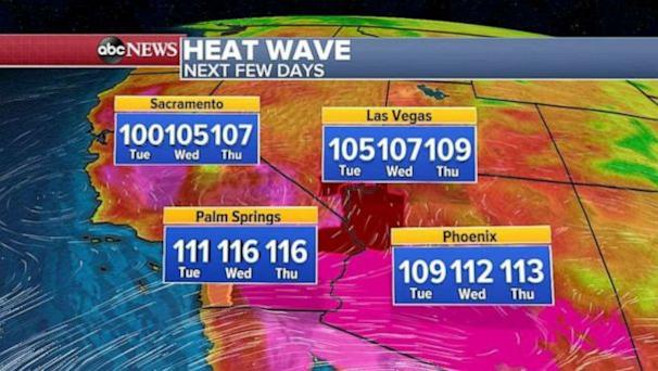 The heat index will be in the triple digits across much of the southern states. (ABC News)