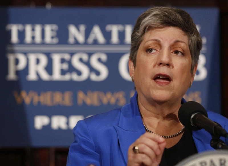 Former Secretary of Homeland Security Janet Napolitano gives her final speech in that office at the National Press Club in Washington on Aug. 27, 2013.  (Larry Downing / Reuters)