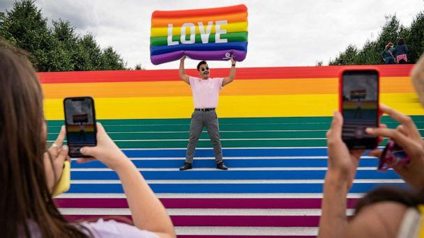PHOTO: Lorenzo Soler poses for photos on the steps that are covered in rainbow colors for Pride Month at Franklin D. Roosevelt Four Freedoms Park, June 14, 2019 on Roosevelt Island in New York. (Drew Angerer/Getty Images, FILE)
