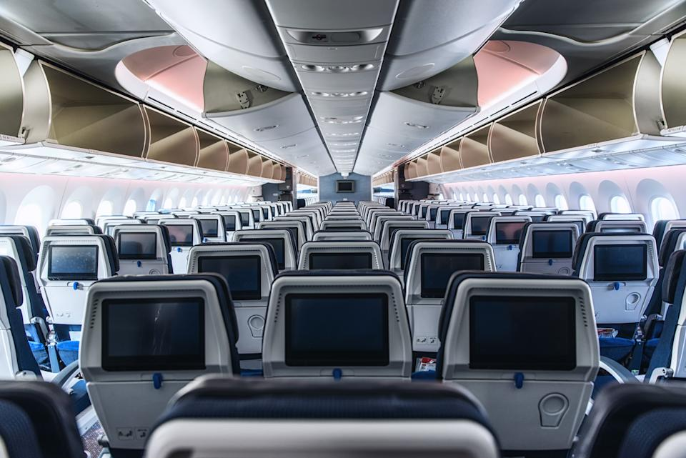Interior de una cabina de avión. Foto: Getty Images