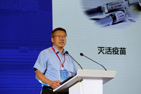 Co-Founder of CanSino Biologics Qiu Dongxu delivers a speech on the progress of company's coronavirus vaccine candidate at the China Anti-viral Drug Innovation Summit, in Suzhou, Jiangsu province on July 11, 2020. Photo: Reuters