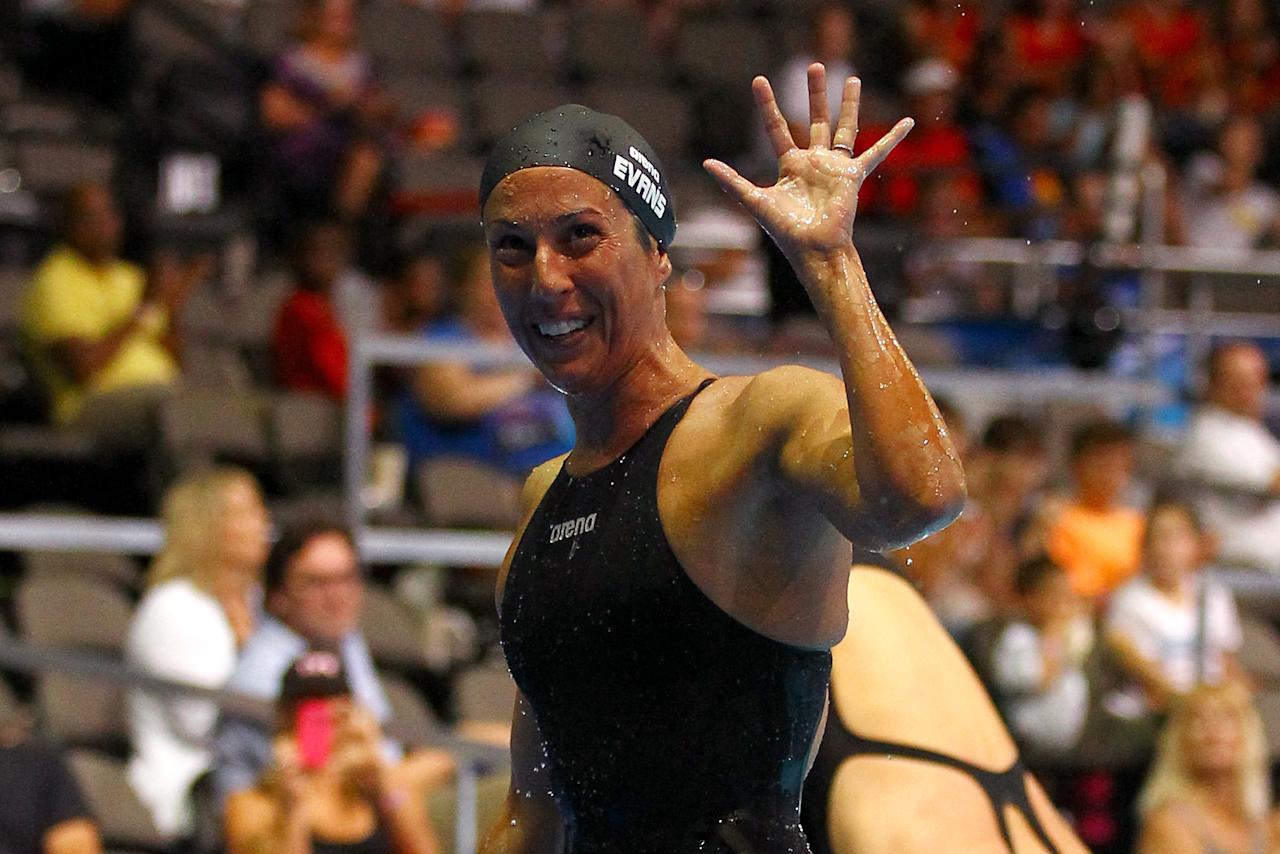 OMAHA, NE - JUNE 26:  Janet Evans waves towards the stands after she competed in preliminary heat 6 of the Women's 400 m Freestyle during Day Two of the 2012 U.S. Olympic Swimming Team Trials at CenturyLink Center on June 26, 2012 in Omaha, Nebraska.  (Photo by Al Bello/Getty Images)