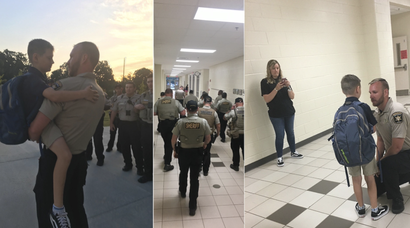 Deputies accompanied a 9-year-old for his first day of work to honor his father, a fallen officer (Credit: Facebook)