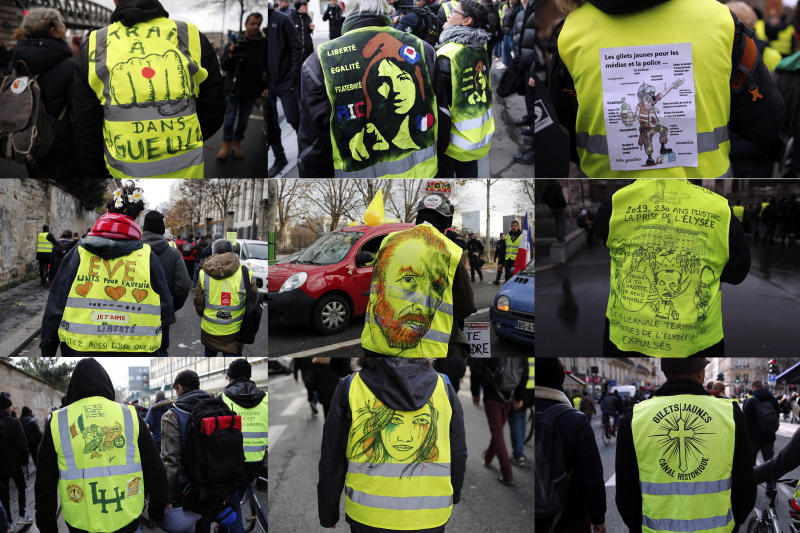 In this combo of 6 images, yellow vest protesters take part of their 56th round demonstration in Paris, Saturday, Dec. 7, 2019. A few thousand yellow vest protesters marched Saturday from the Finance Ministry building on the Seine River through southeast Paris, pushing their year-old demands for economic justice and adding the retirement reform to their list of grievances. (AP Photo/Francois Mori)