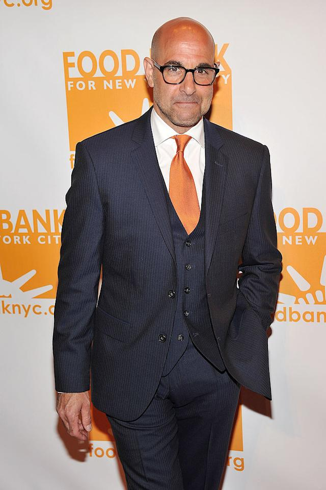 """Hunger Games"" star Stanley Tucci (who matched his tie to the Food  Bank's signature color) hosted the event alongside celebrity chef  Mario Batali. (4/17/2012)"