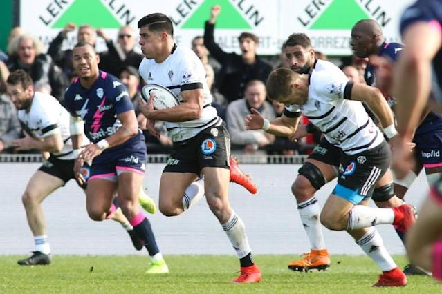 Brive winger Axel Muller scored from an interception but later earned a yellow card (AFP Photo/DIARMID COURREGES)