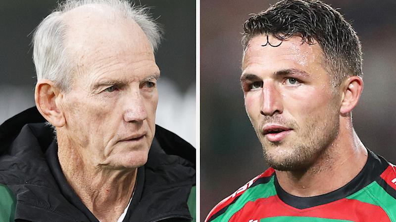 A 50-50 split image shows Wayne Bennett on the left and Sam Burgess on the right.