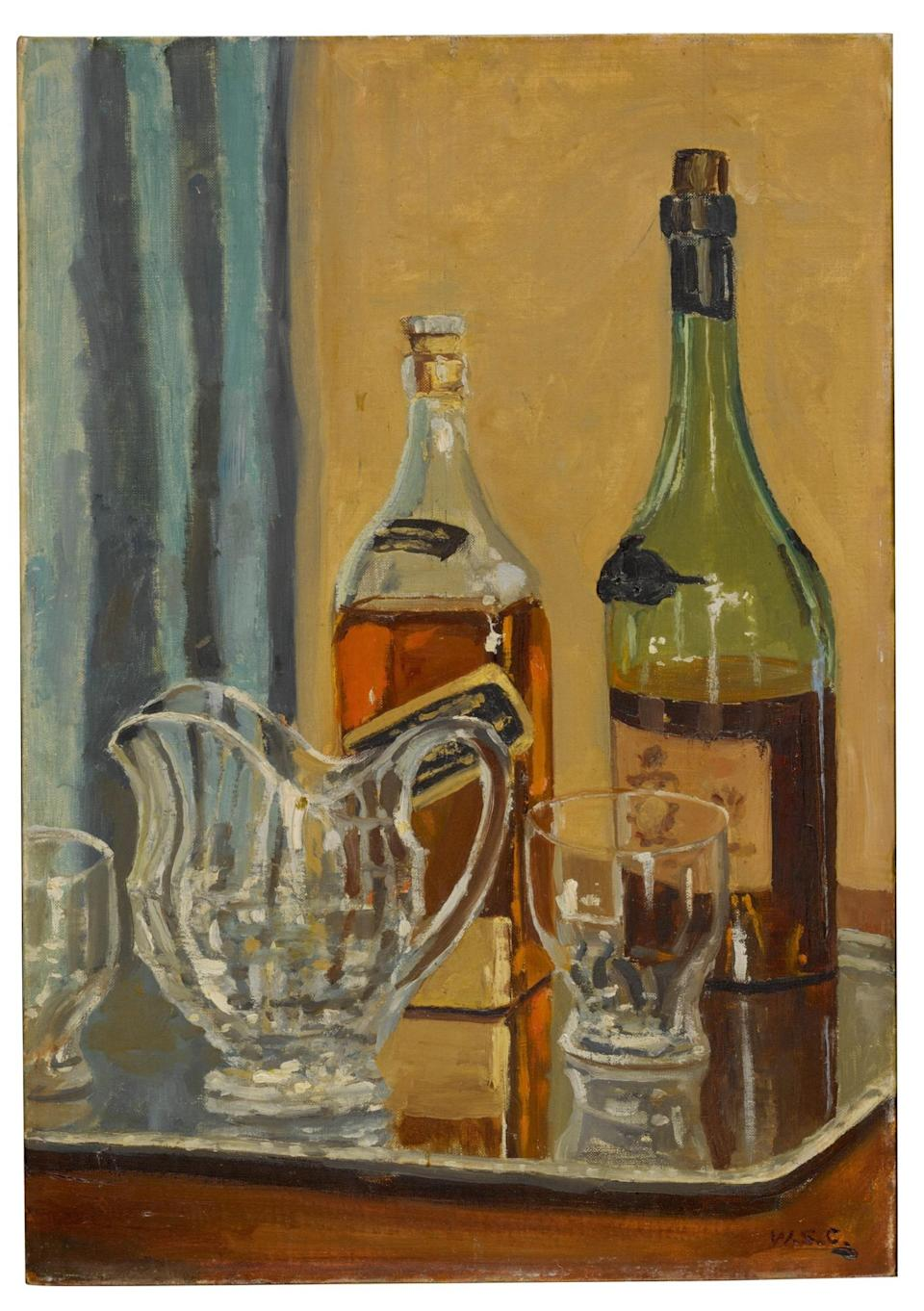 WINSTON CHURCHILL, JUG WITH BOTTLES