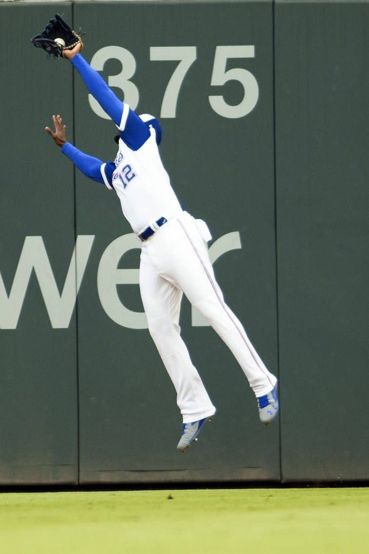 Atlanta Braves right fielder Jorge Soler catches a pop fly by the Milwaukee Brewers during the first inning of a baseball game Saturday, July 31, 2021, in Atlanta. (AP Photo/Hakim Wright Sr.)