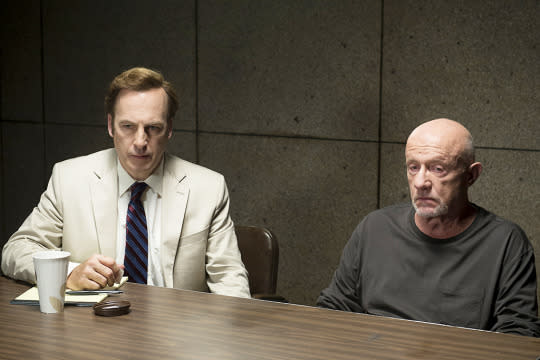 """<p>The whole series is the backstory of Saul Goodman, but this episode — the first TV script written by series co-creator Vince Gilligan's onetime assistant, Gordon Smith — focused in on the tragic past of cop-turned-enforcer Mike Ehrmantraut. We knew from <i>Breaking Bad</i> that Mike had been a Philly cop, and here we learned he'd been a dirty cop who advised his policeman son Matty to go along with his fellow officers' corruption. After Matty was killed by his partner, the usually stoic Mike finally revealed all to Matty's widow, in a haunting, crushingly emotional performance from Emmy nominee Jonathan Banks: """"I broke my boy!"""" — <i>Kimberly Potts</i><br /></p><p><i>(Credit: AMC)</i></p>"""