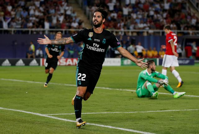 Soccer Football - Real Madrid v Manchester United - Super Cup Final - Skopje, Macedonia - August 8, 2017 Real Madrid's Isco celebrates scoring their second goal REUTERS/Peter Cziborra TPX IMAGES OF THE DAY