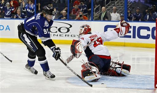 Tampa Bay Lightning's Steven Stamkos (91) scores past Washington Capitals goalie Tomas Vokoun, of Czech Republic, during the second period of an NHL hockey game, Saturday, Feb. 18, 2012, in Tampa, Fla. (AP Photo/Mike Carlson)