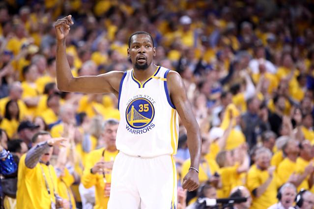 "Maybe <a class=""link rapid-noclick-resp"" href=""/nba/players/4244/"" data-ylk=""slk:Kevin Durant"">Kevin Durant</a> went a little too far in his Kobe Bryant imitation."