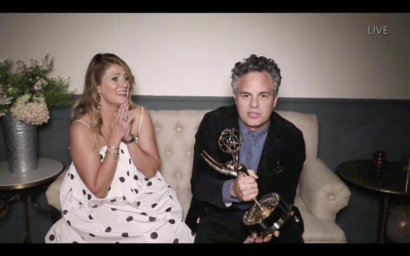 Mark Ruffalo and his wife, Sunshine watch the 72nd Emmy® Awards from their home