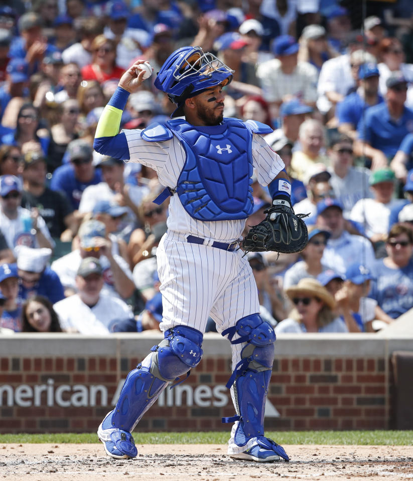 Chicago Cubs' Rene Rivera during the third inning of a baseball game against the Toronto Blue Jays, Sunday, Aug. 20, 2017, in Chicago. (AP Photo/Kamil Krzaczynski)