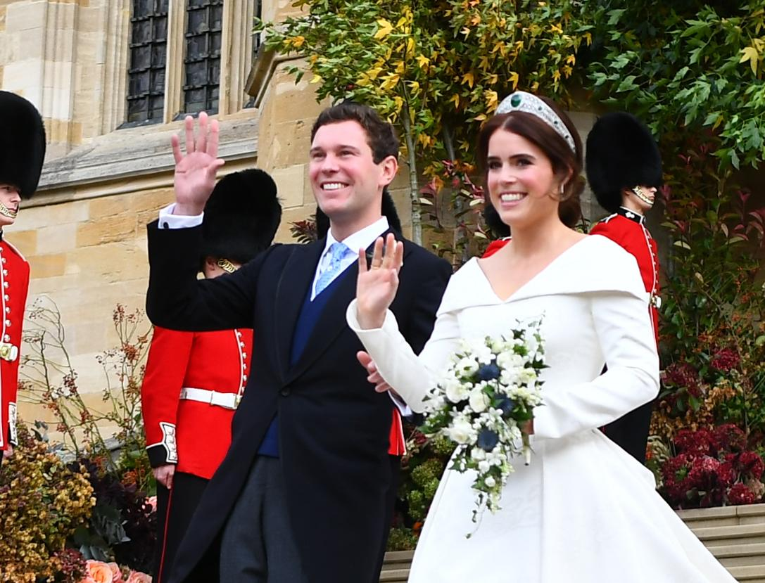 <p>Princess Eugenie was absolutely stunning in a custom, ivory-hued satin gown with an A-line skirt for her wedding to wine merchant Jack Brooksbank on Friday. Photo: Getty </p>