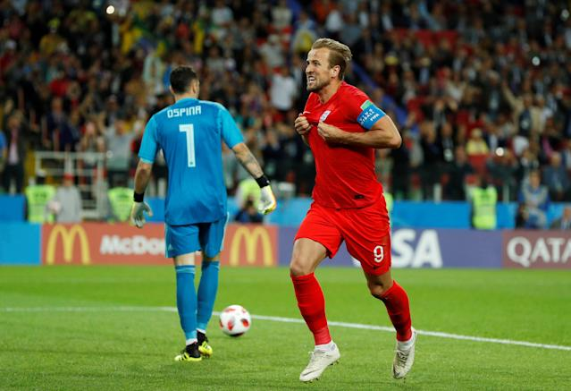 <p>Harry Kane celebrates putting England ahead in Moscow </p>