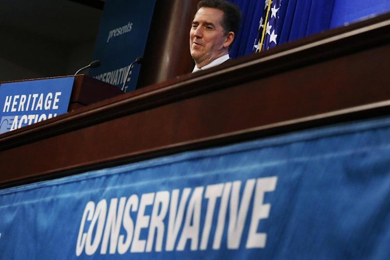 Former Republican South Carolina Seb. Jim DeMint, president of the Heritage Foundation, speaks at the Heritage Action for America 2014 Conservative Policy Summit in Washington, Monday, Feb. 10, 2014. (AP Photo/Charles Dharapak)