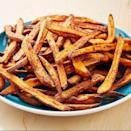 """<p>We love a good, crispy <a href=""""https://www.delish.com/uk/cooking/recipes/a28841618/perfect-baked-sweet-potato-recipe/"""" rel=""""nofollow noopener"""" target=""""_blank"""" data-ylk=""""slk:sweet potato"""" class=""""link rapid-noclick-resp"""">sweet potato</a> fry. Though the oven-baked variety is great, these air fryer fries get even crispier and take way less time! Paired with our favourite 3-ingredient secret sauce, we can't think of a better snack. </p><p>Get the <a href=""""https://www.delish.com/uk/cooking/recipes/a31012172/air-fryer-sweet-potato-recipe/"""" rel=""""nofollow noopener"""" target=""""_blank"""" data-ylk=""""slk:Air Fryer Sweet Potato Fries"""" class=""""link rapid-noclick-resp"""">Air Fryer Sweet Potato Fries</a> recipe.</p>"""