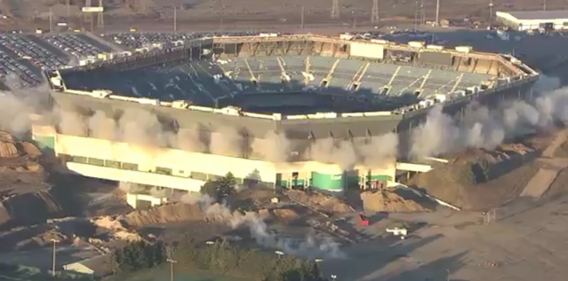 The Silverdome refused to fall. (Screen shot)