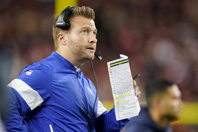 Los Angeles Rams coach Sean McVay and Arsenal manager Mikel Arteta held a two-hour phone call this week to talk strategies for players amid the coronavirus pandemic. (AP/Tony Avelar)
