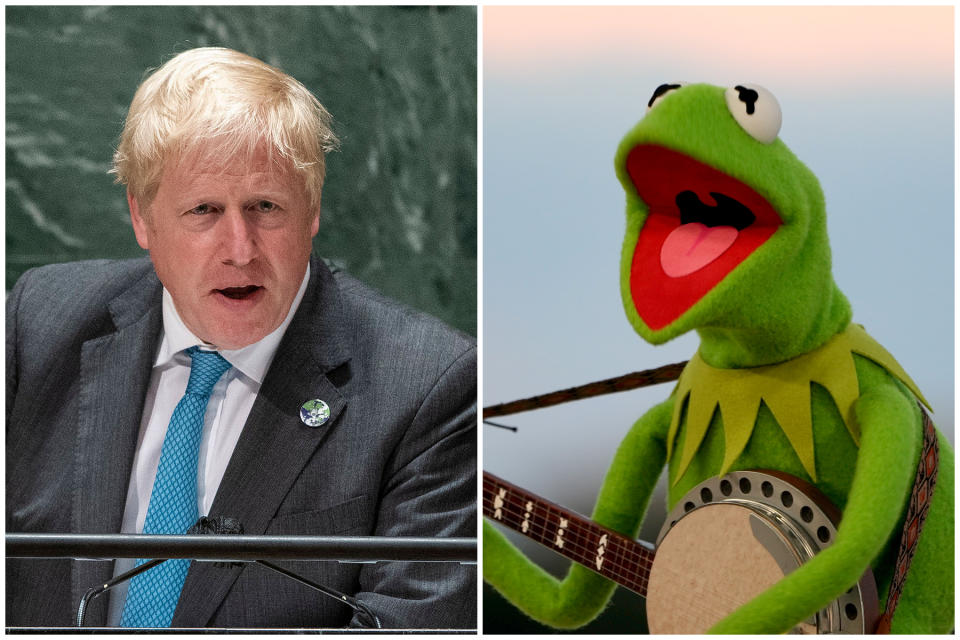 Boris Johnson joked about Kermit the Frog in his UN General Assembly climate change speech. (Getty Images)