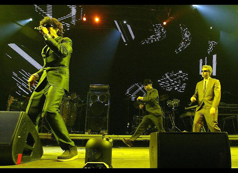 Barcelona, SPAIN: The Beastie Boys perform on the second day of the Progressive Music and Multimedia Art 'Sonar Festival' in Barcelona, Spain, 15 June 2007. (Photo by Cesar Rangel/AFP/Getty Images)