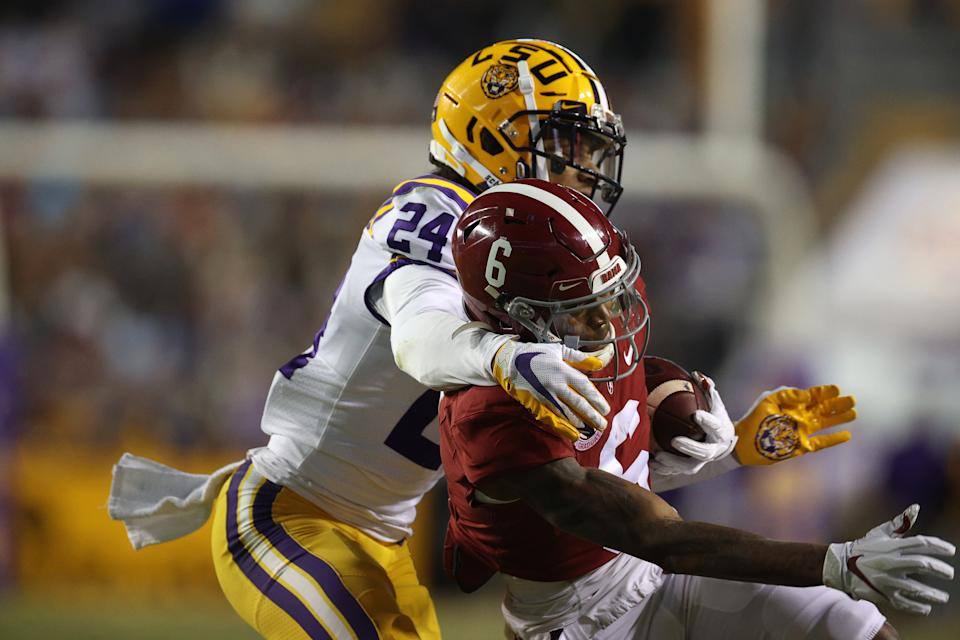 LSU's Derek Stingley Jr. struggled some with Alabama wide receiver DeVonta Smith the past two seasons, but many others did too. (Photo by Chris Graythen/Getty Images)